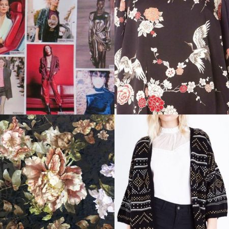 Some of the influences driving trends this autumn/winter season (clockwise from top left): the 1980s, eastern motifs, the eastern boho look and midnight florals.